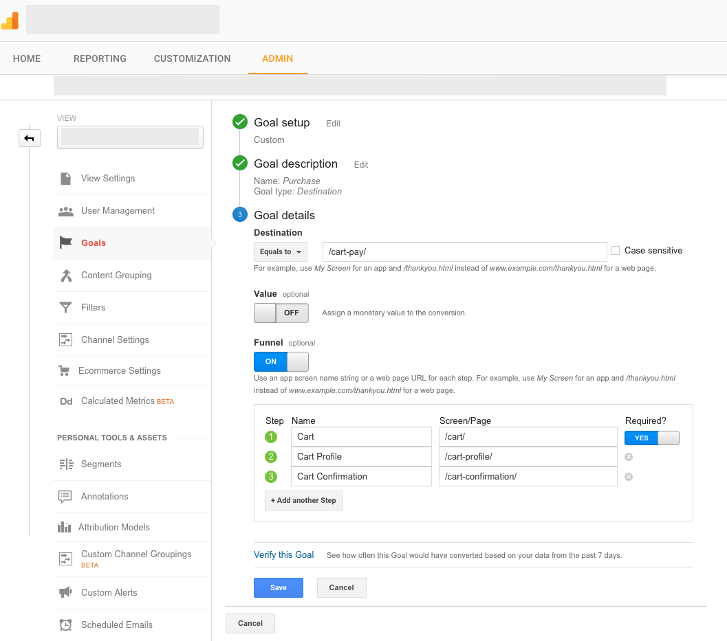 Google Analytics Conversion Funnel Setup