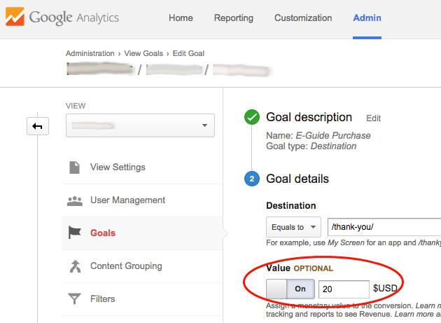 Google Analytics Goal Setup with Value