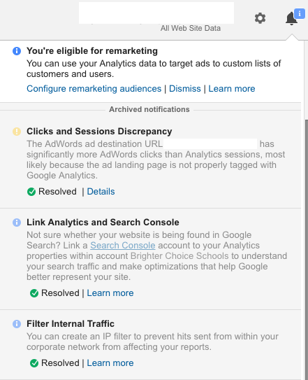 Google Analytics Notifications