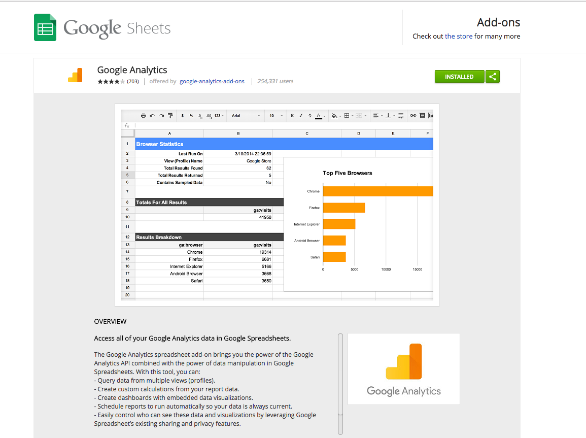 Google Analytics Google Sheets Add-On