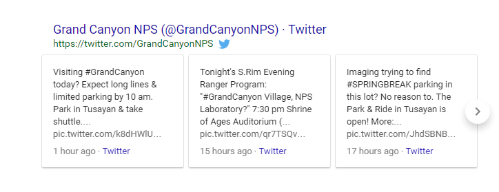 Grand Canyon Tweets in SERP