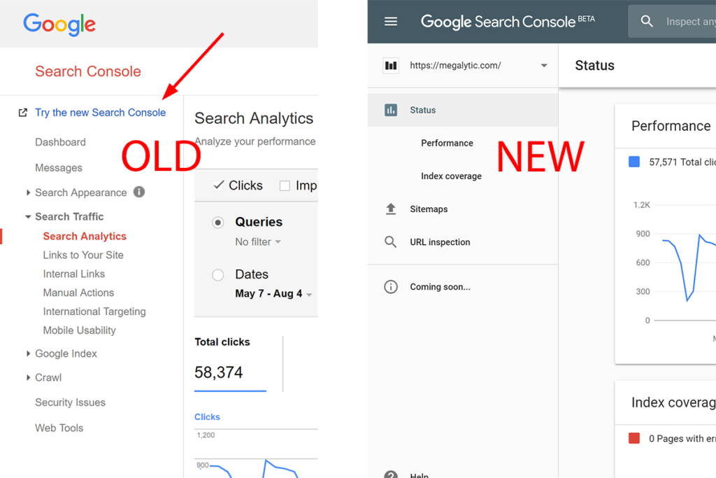 Google Search Console Old vs New