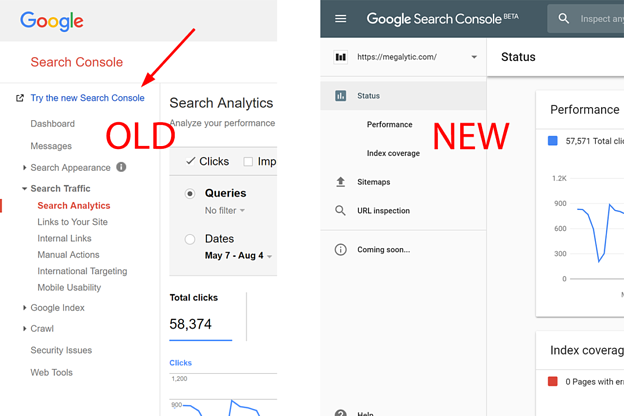 Google Search Console Old vs New