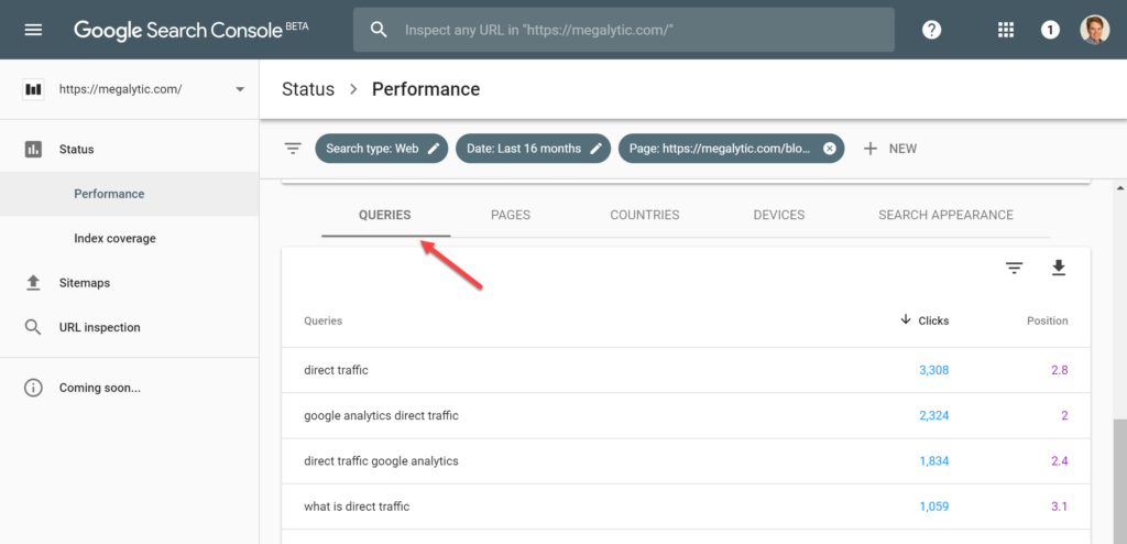 Google Search Console for Single Page Queries