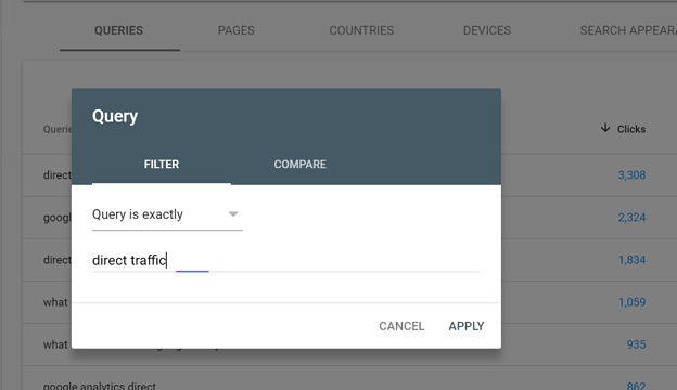 Google Search Console Setting Up a Single Query Filter