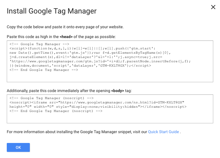 Google Tag Manager - Code for Website