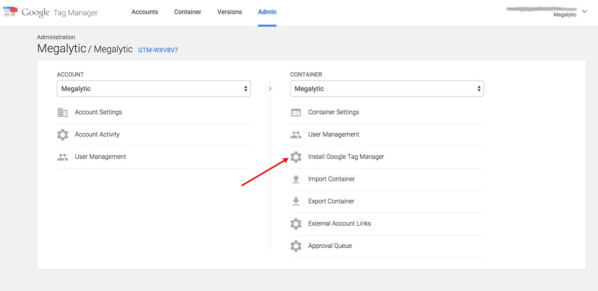 Getting the Google Tag Manager Code Snippet