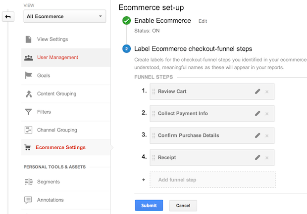 creating an ecommerce funnel in Google Analytics