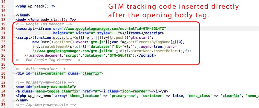 Google Tag Manager Tracking Code Inserted