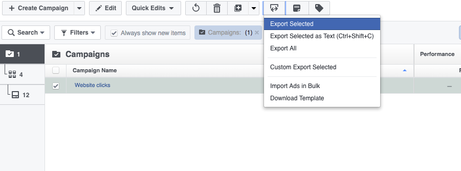 Facebook Power Editor Import Export
