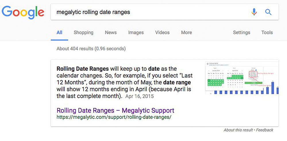 Google Knowledge Panel Showing Megalytic Support