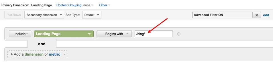 Google Analytics Landing Page Filter