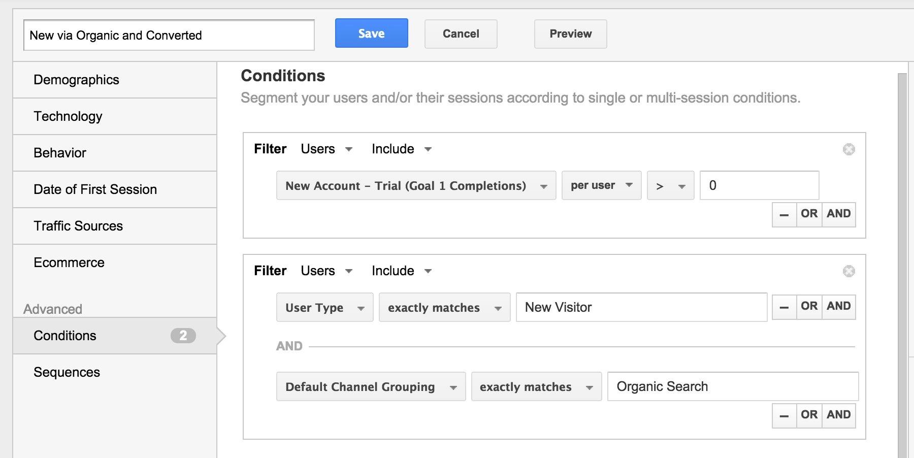 Google Analytics Leads via Organic Segment