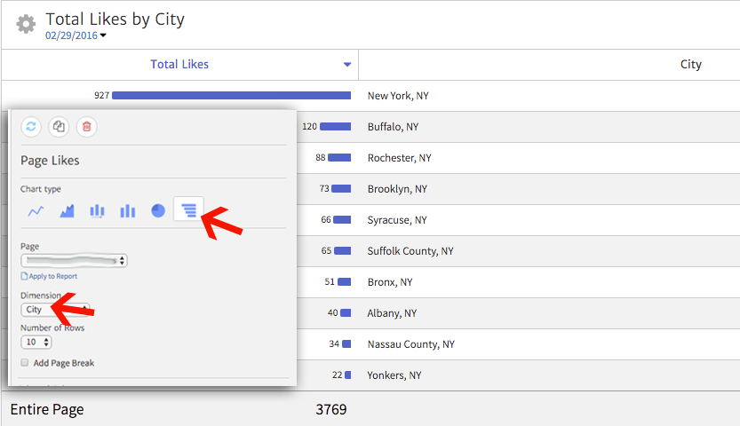 Facebook Page Likes by City shown in a Megalytic widget