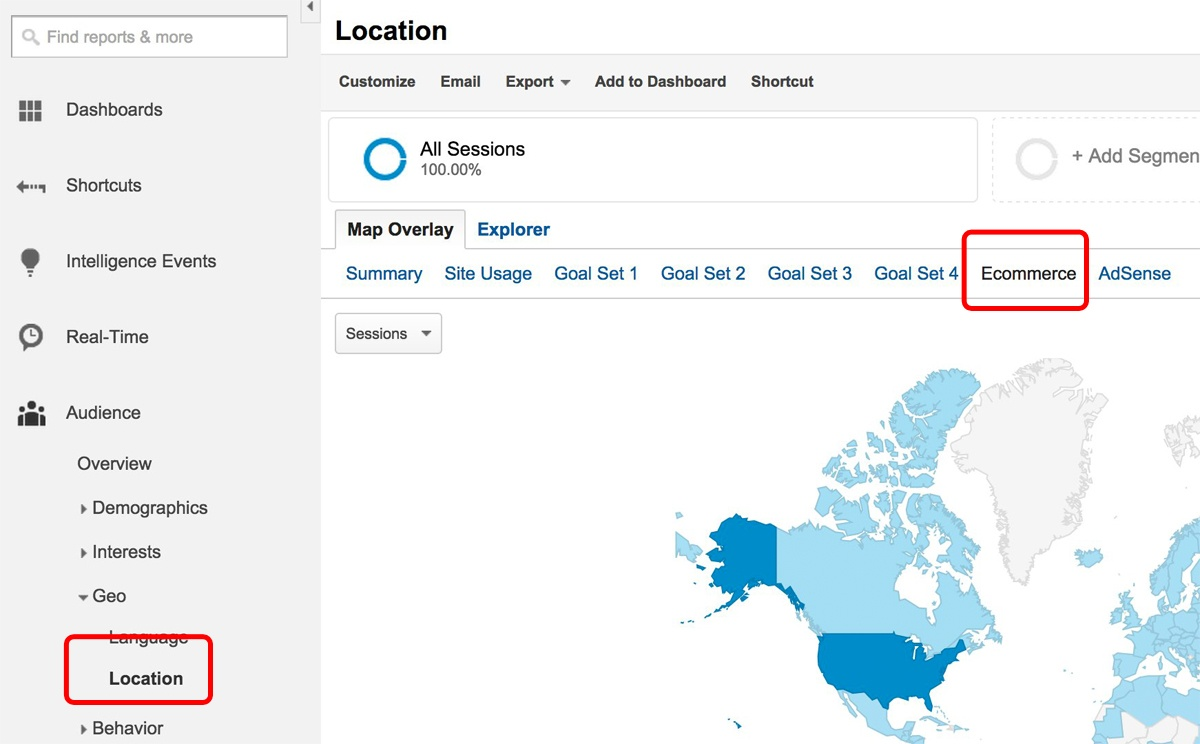 Google Analytics Ecommerce by Geography