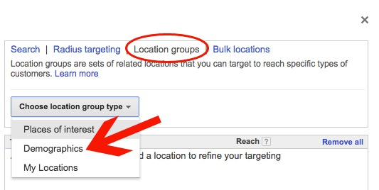 AdWords Location Groups