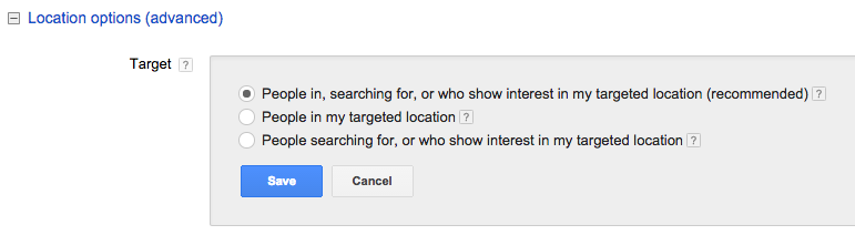 AdWords Location Options for Geo Targeting
