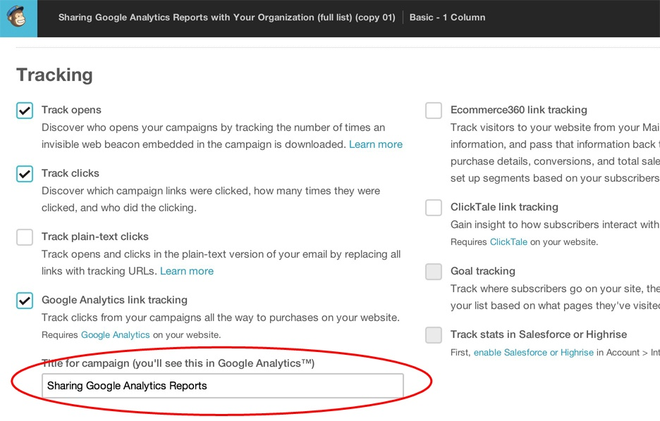 mailchimp google analytics tagging