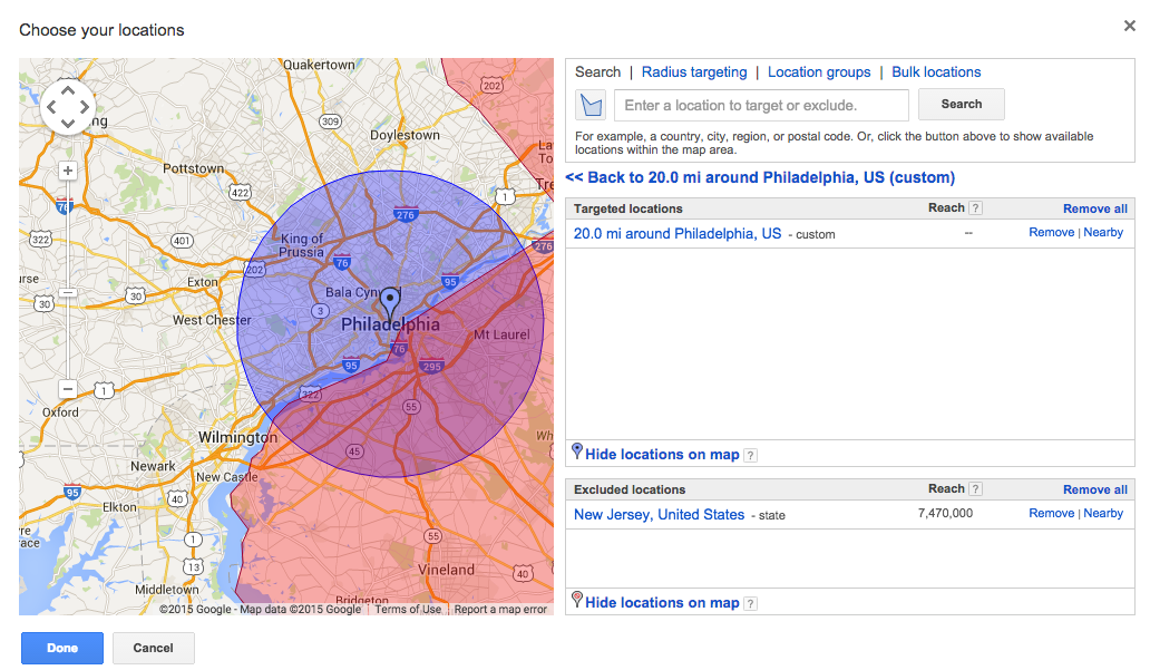 AdWords Map with Exclusion - Geo Targeting