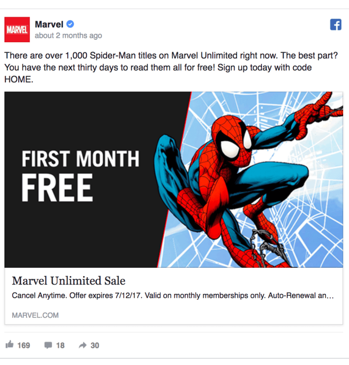 First Month Free Facebook Ad