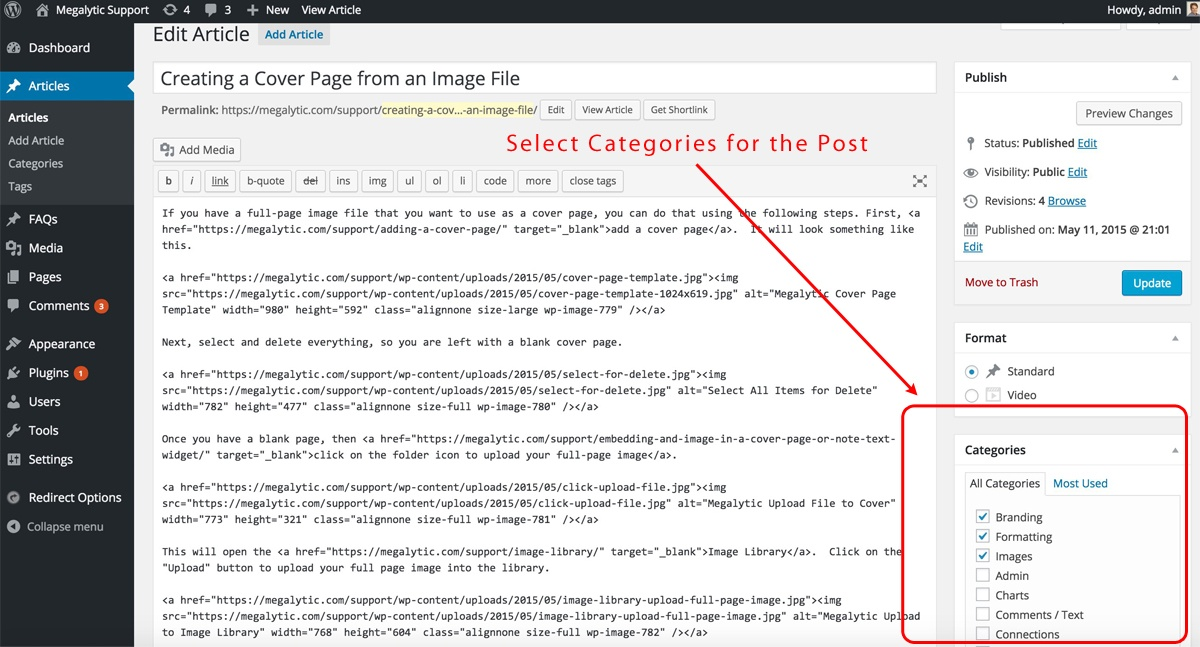 WordPress Categories for a Post