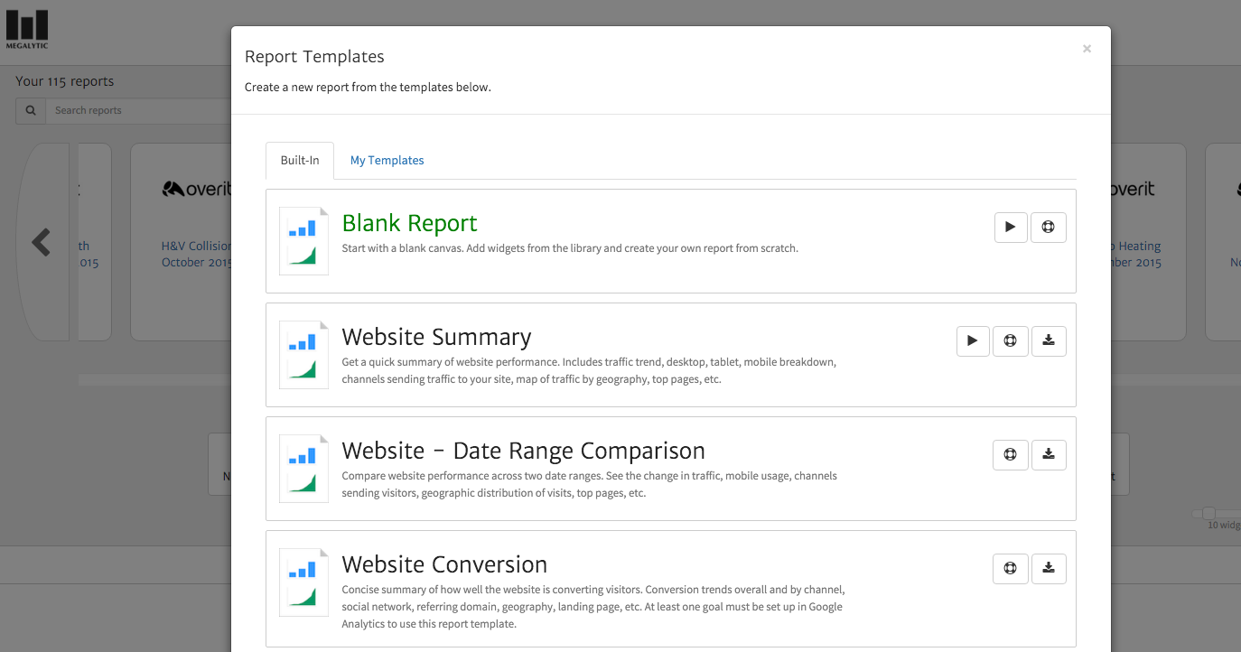Templates for Analytics Reports Available in Megalytic