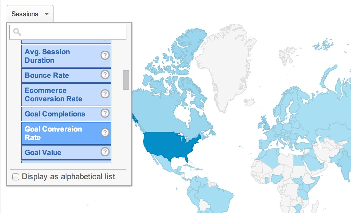 Select Metric for Map in Google Analytics