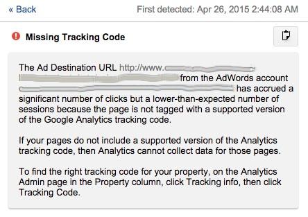Google Analytics Missing Tracking Code Notification