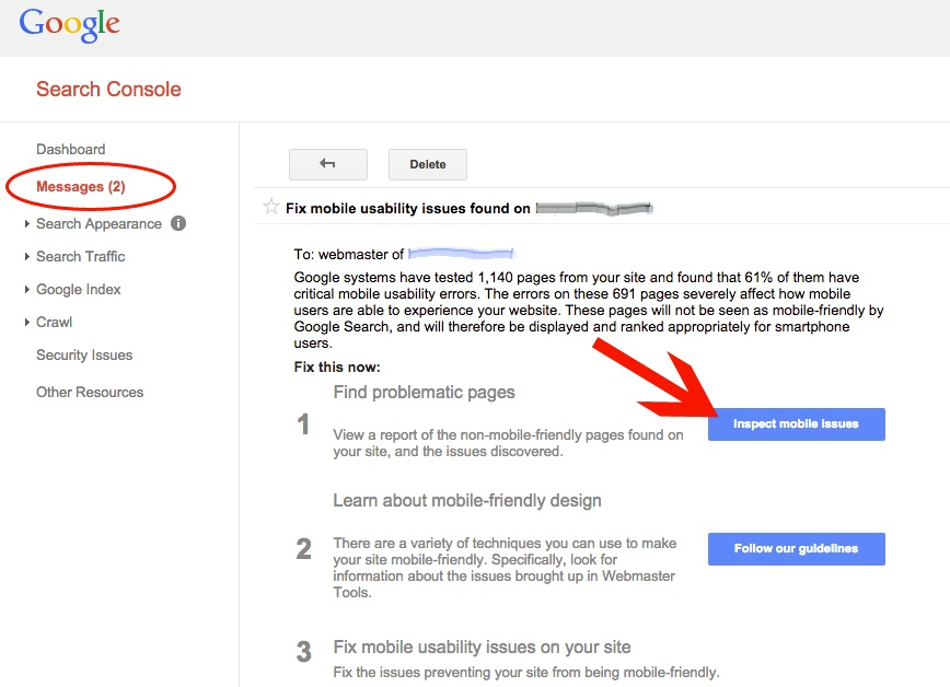 Search Console Warning Message about Mobile Issue