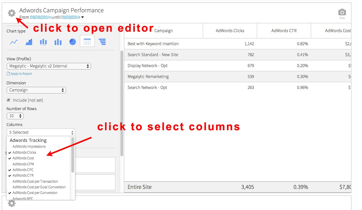 image showing how to modify a table in a Megalytic report