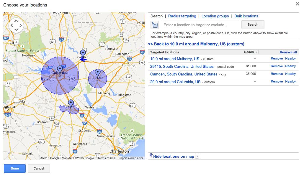 AdWords Multiple Geo Targeting Locations