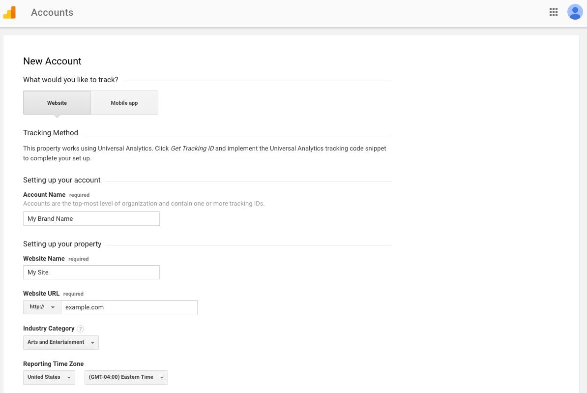 Google Analytics New Account Criteria