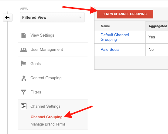 Google Analytics Creating a New Channel Grouping