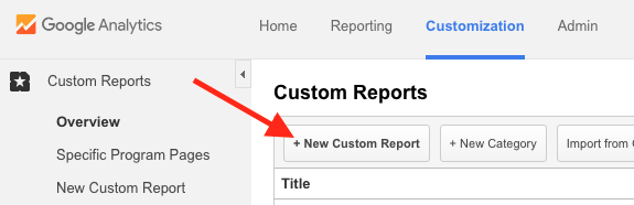 Google Analytics Creating a Custom Report