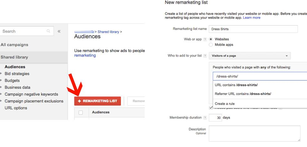 AdWords Remarketing Creating a New List