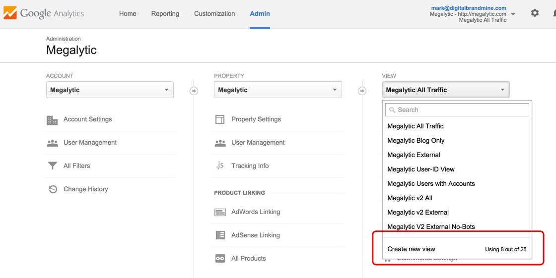 Creating a New View in Google Analytics
