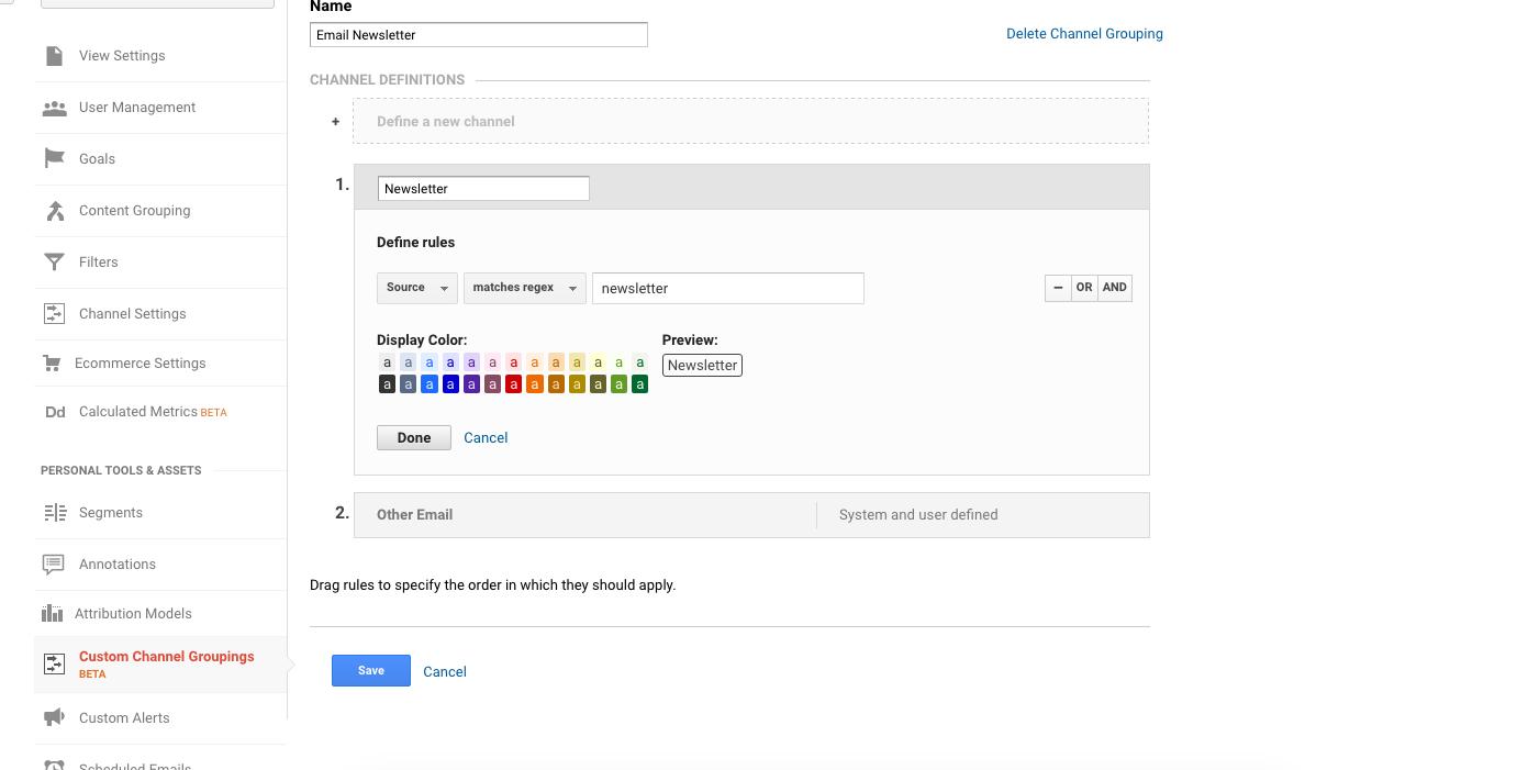 Newsletter Custom Channel in Google Analytics
