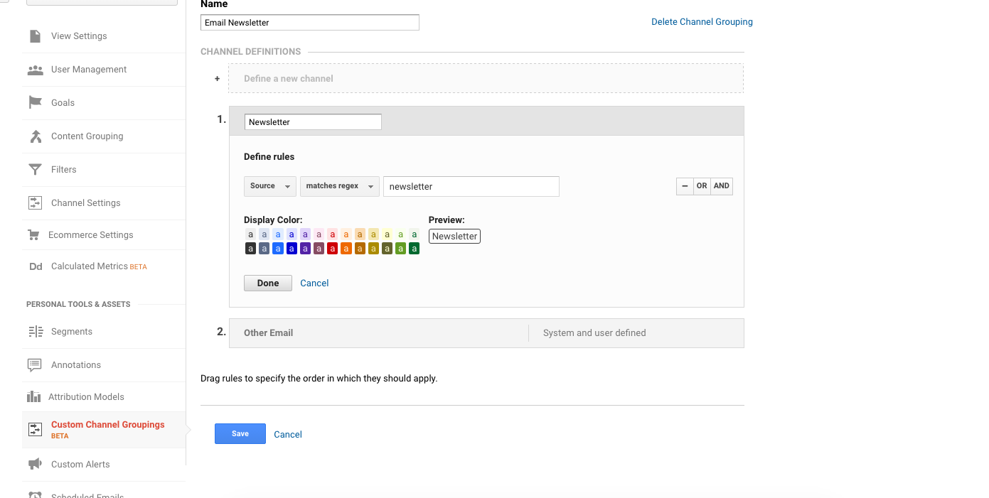 Newsletter Custom Channel in Google Analytics
