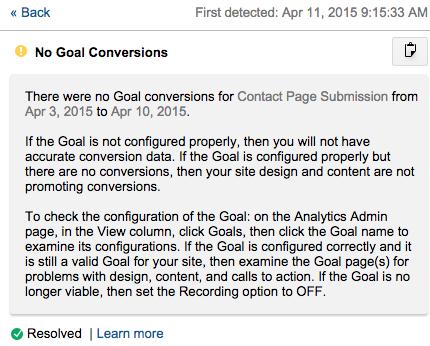 Google Analytics No Goal Conversions Notification