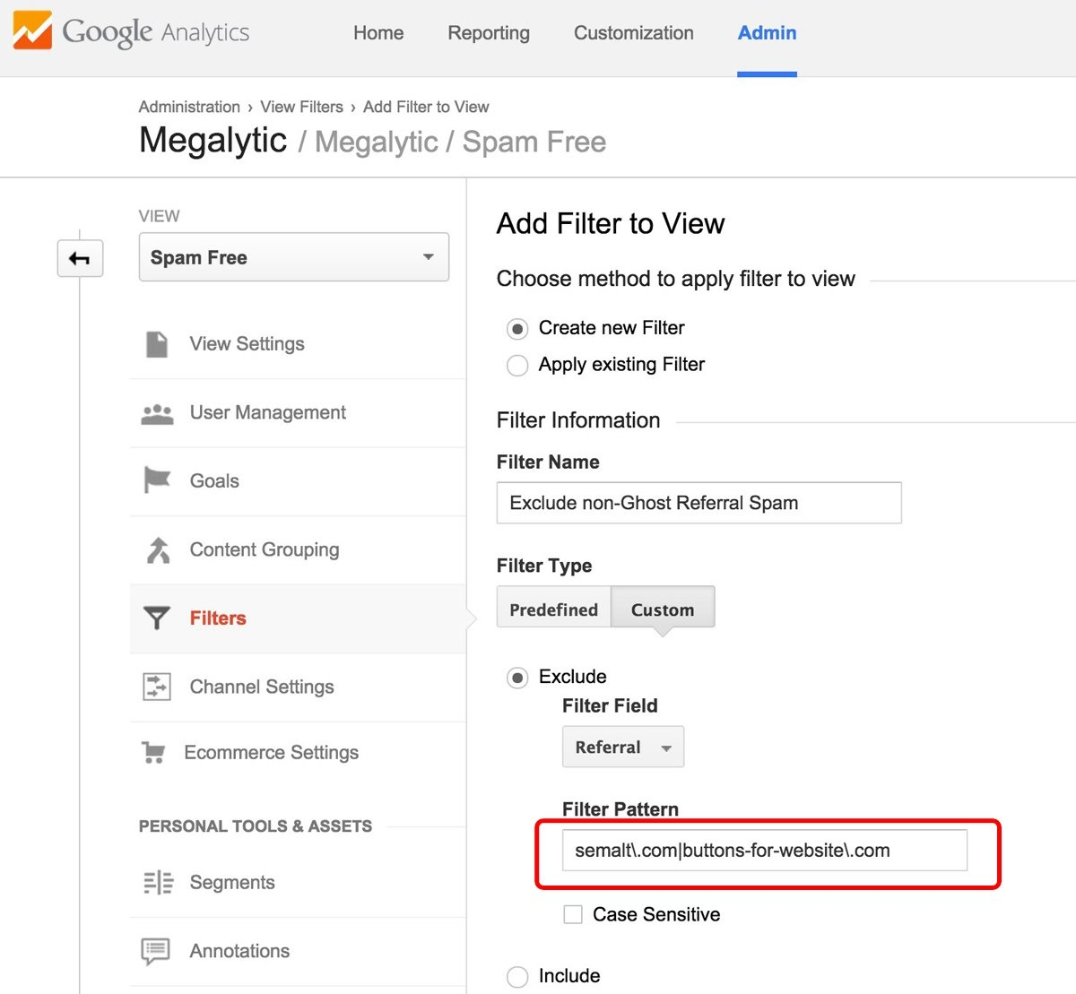 Google Analytics Filter to Exclude Spam Referrals