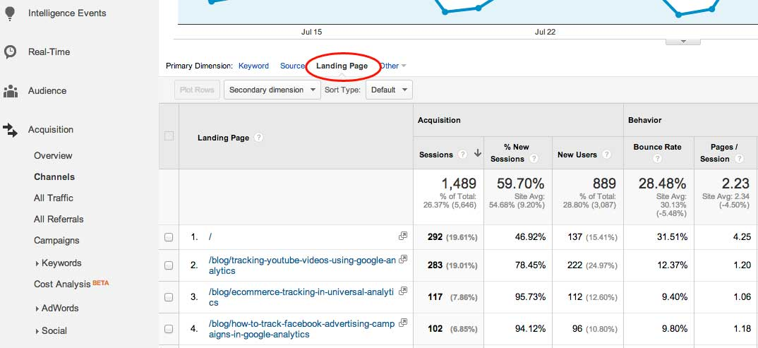 google analytics organic traffic landing pages