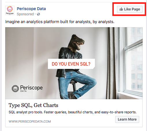 Facebook Page Like from an Ad