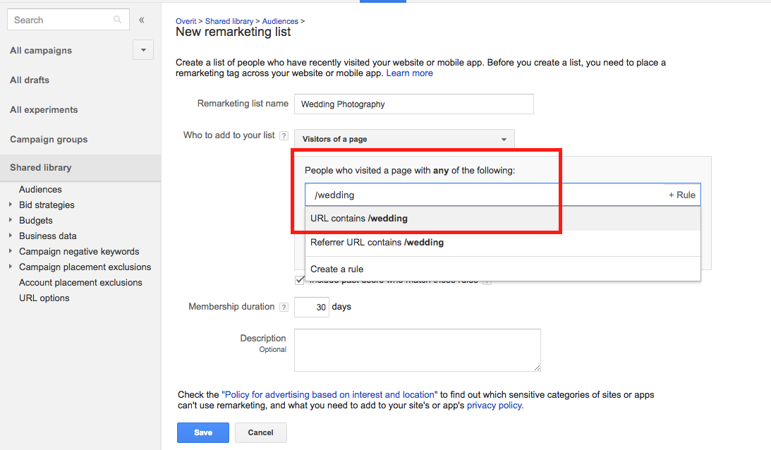 Retargeting a Page Specific List