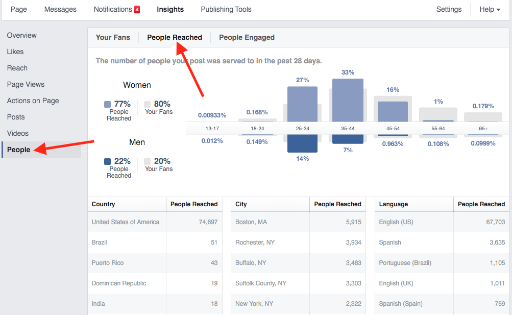 Facebook Insights Demographics of Page and Post Reach