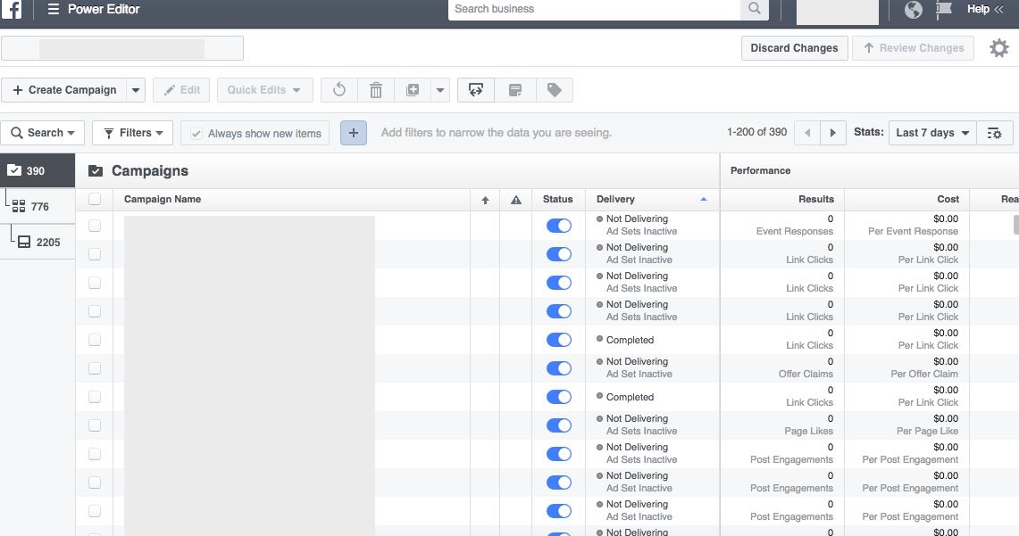 Facebook Power Editor Interface