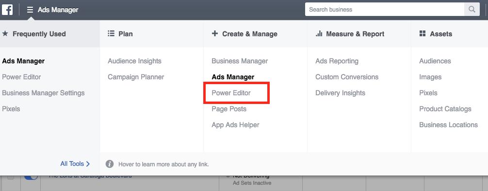 Facebook Power Editor Menu Link