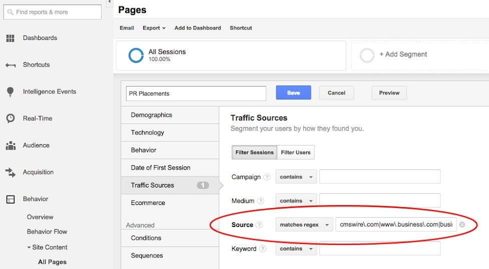 Google Analytics PR Segment