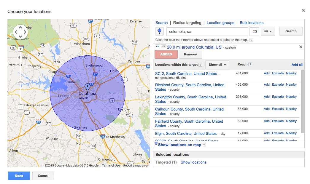 AdWords Radius Geo Targeting