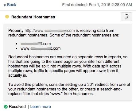 Google Analytics Redundant Hostnames Notification