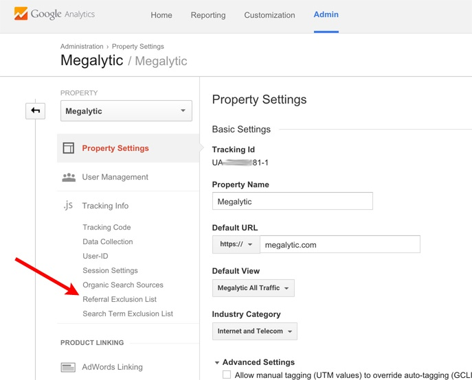 Google Analytics Opening the Referral Exclusion List